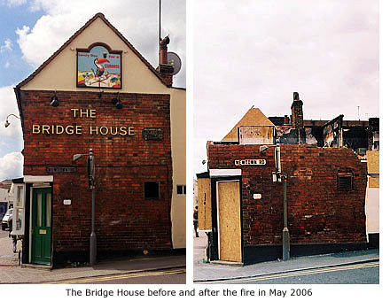 bridge house before and after fire