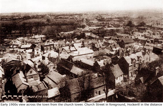 aerial of town early 1900s
